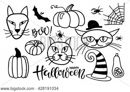 Happy Halloween, Boo Text With Holiday Attributes Sketch. Halloween Lettering Sign With Witch Cats,