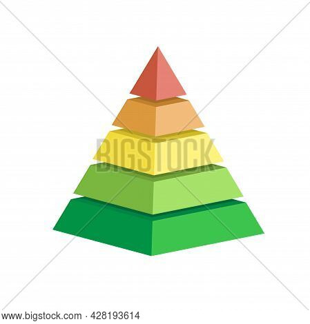 Pyramid Scheme 5 Five Steps. Vector Hierarchy Level Chart Graph, Green Red Yellow Diagram Structure.