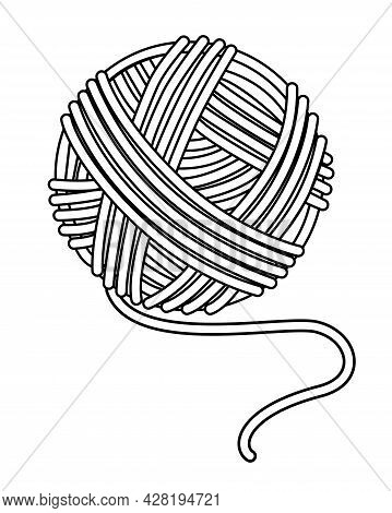 Ball Of Yarn For Needlework. A Ball Of Knitting Thread - Vector Linear Illustration For A Logo Or Co