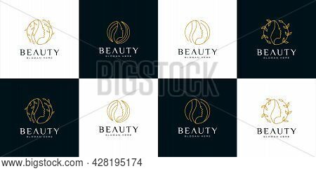 Set Of Silhouette Woman Face Feminine Lifestyle Salon