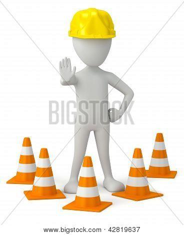 3D Small Person In A Helmet-traffic Cone.