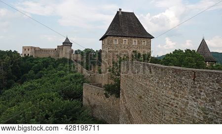 Ruins Of Helfstyn Castle In The Czech Republic. View Of The Tower At The Entrance To The Second Cour