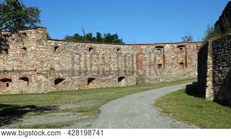 Ruin Of Boskovice Castle In The Czech Republic. View Of The Remains Of Battlements