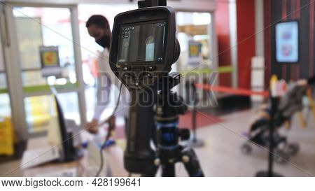 Temperature Check At A Supermarket, Grocery Store With A Thermal Imaging Camera Installed. Image Mon