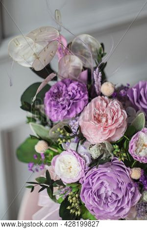 Beautiful Spring Bouquet In Pink And Purpl Color, In Round Ceramic Vase. Arrangement With Peonies Ro