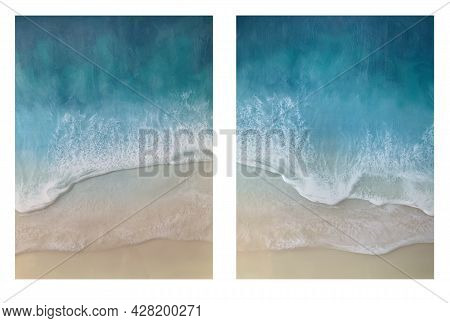 Set Of Top View On Sea Wave With White Foam And Light Beige Sand. Set Of Drawing With Epoxy Resin. C