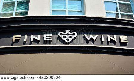 Szczecin, Poland.. 24 July 2021. Sign  Fine Wine. Company Signboard  Fine Wine