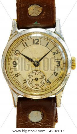 Old dirty antique watch on a white background poster