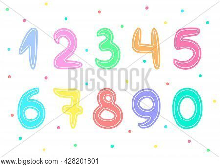 Pastel Numbers Set For Kids In Cartoon Style. Colored Funny Math Figures.