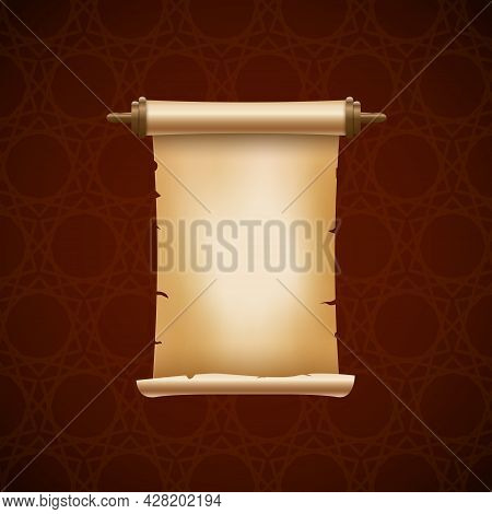 Scroll Ancient Vector Paper Parchment. Old Paper Scroll Background Banner Papyrus Letter Frame Like