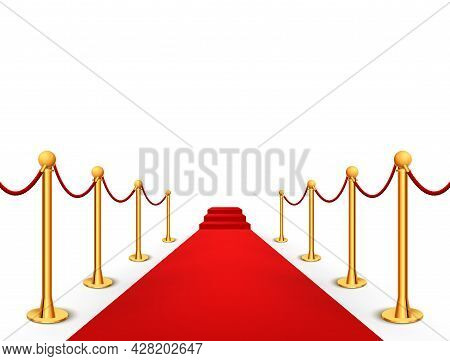 Red Carpet Celebrity Background Entrance. Hollywood Fame Event Vip Red Carpet