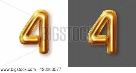 Metallic Gold Numeral Symbol - 4. Creative Vector Illustration