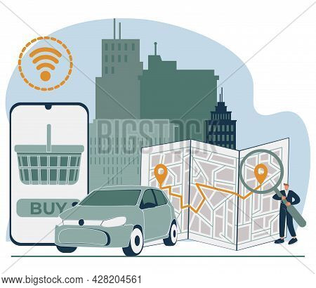 Online Store Pickup Service Abstract Concept Vector Illustration Set. Reserve Parking Space, Curbsid