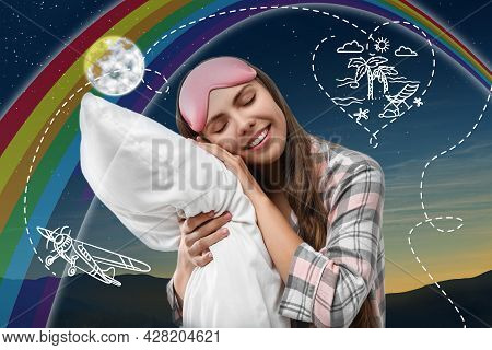 Beautiful Woman Dreaming About Vacation While Sleeping, Night Starry Sky On Background