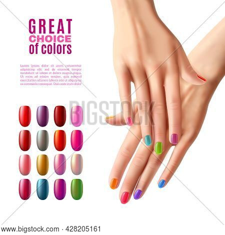 Manicure Advertisement Poster With Choice Of Colorful False Acrylic Nails In Modern Polish Shades Re