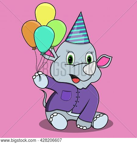 Character Rhinoceros With Four Balloon, Pink Colors Background, Mascot, Icon, Character Or Logo, Vec