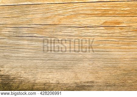Fragment Of A Wooden Board With Cracks And Damage. Old Wood Close-up View. Wood Texture Or Wood Back