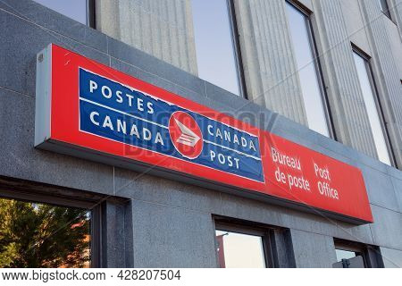 Sherbrooke, Canada - July 28, 2021: Canada Post Sign On Downtown Post Office Building, Quebec French