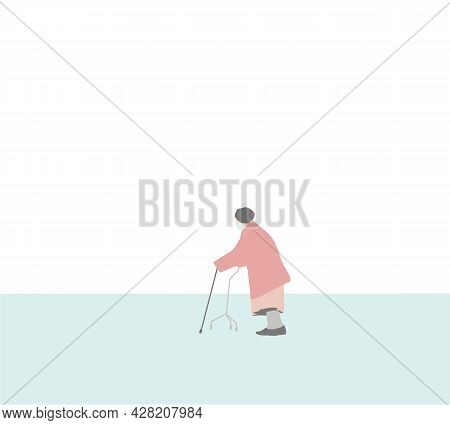 Elderly Women With Face Mask Using A Walker On The Street. Vector Illustration In A Flat Style. Dise