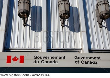 Sherbrooke, Canada - July 28, 2021: Government Of Canada Sign On Downtown Post Office Building, Queb