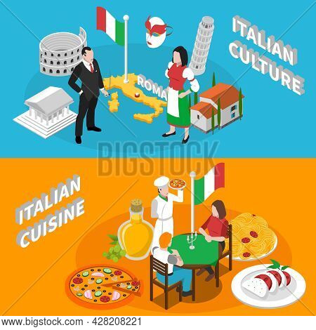 Italian Culture Traditions Landmarks An Mediterranean Cuisine For Tourists 2 Isometric Banners Poste