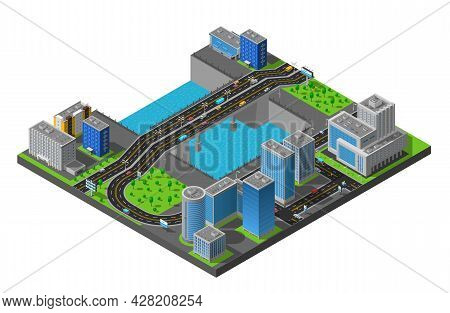 City Business Center And Residential District Isometric Map With Bridge Across The River Poster Abst