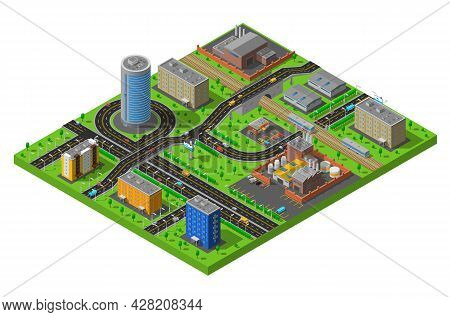 Industrial And Residential City District Elements Isometric Composition Poster With Streets And Prod