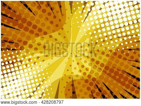 Abstract Orange And Yellow Colors Retro Comic Background With Dots And Lines. Bright Wavy Gradient S