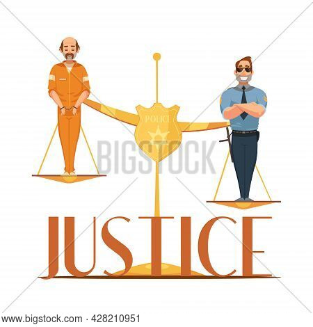 Law Jurisdictions And Scale Of Justice Symbolic Composition With Convict And Police Officer Retro Ca