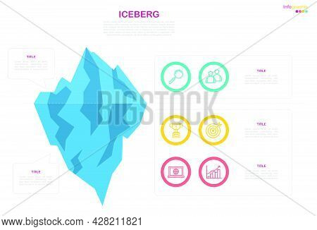 Iceberg Infographic Template, Workflow Diagram Eps10 Vector With Line Icon, Divided Layer In File