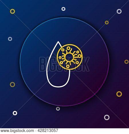 Line Blood Test And Virus Molecule Coronavirus Icon Isolated On Blue Background. Coronavirus, Covid-