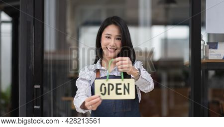 Startup Successful Small Business Owner Sme Beauty Girl Stand Hand Hold Open Sign Coffee Shop Or Res