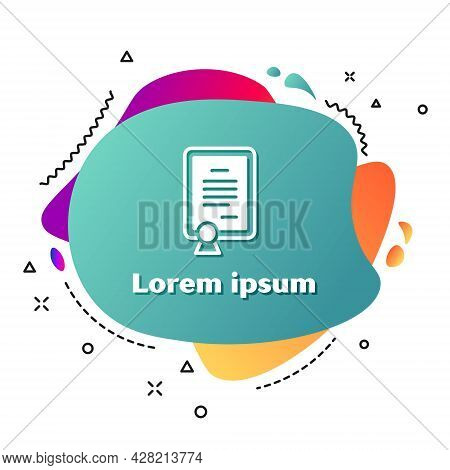 White Certificate Template Icon Isolated On White Background. Achievement, Award, Degree, Grant, Dip