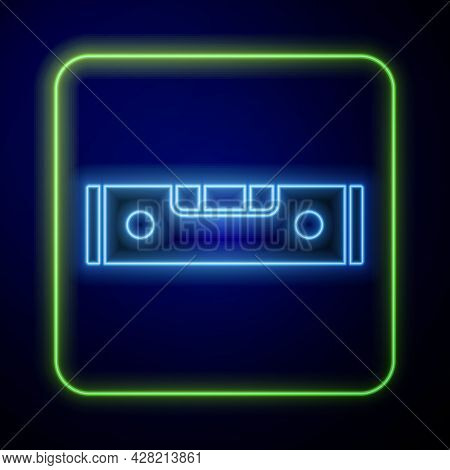 Glowing Neon Construction Bubble Level Icon Isolated On Blue Background. Waterpas, Measuring Instrum