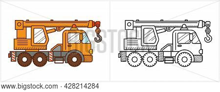 Crane Truck Coloring Page. Crane Truck Side View