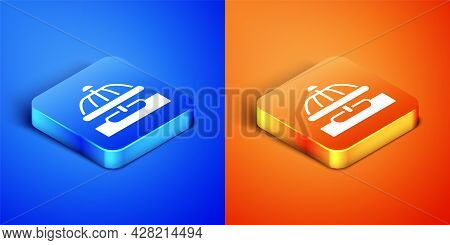 Isometric Attraction Carousel Icon Isolated On Blue And Orange Background. Amusement Park. Childrens