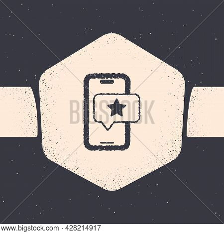 Grunge Mobile Phone With Review Rating Icon Isolated On Grey Background. Concept Of Testimonials Mes