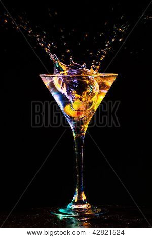 modern fresh coctail on the black background