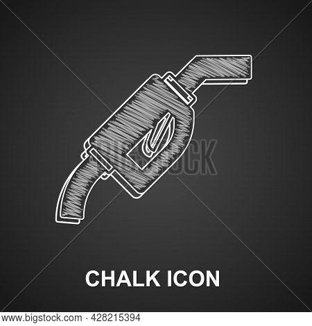 Chalk Gasoline Pump Nozzle Icon Isolated On Black Background. Fuel Pump Petrol Station. Refuel Servi