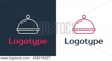 Logotype Line Covered With A Tray Of Food Icon Isolated On White Background. Tray And Lid. Restauran