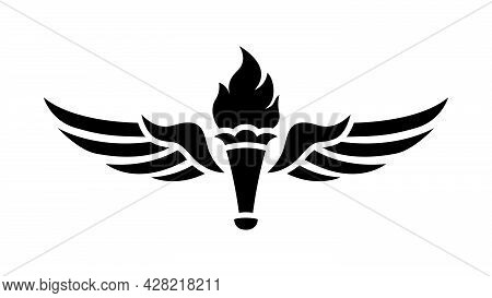 Winged Torch Logo. Print, Torch With Wings.
