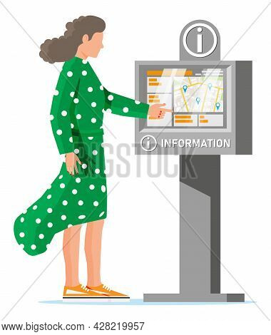 Information Kiosk And Woman Isolated On White. Sign Digital Information Panel. Street Interactive To