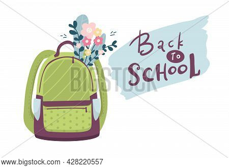 Backpack With Flowers. Back To School Web Banner. Backpack Iconcolorful Kids Backpacks Illustration.
