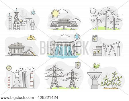 Energy Sources With Fossil Fuel, Nuclear Fuel And Renewable Resources Line Vector Set