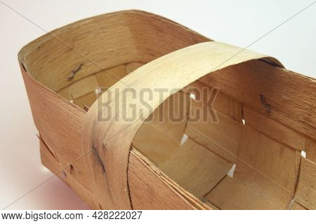 Empty Woven Basket Of Veneer. Handmade, Light Hardwood. Closeup