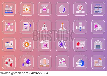 Industry Web Glassmorphic Icons Set. Pack Outline Pictograms Of Oil Refinery And Equipment, Producti