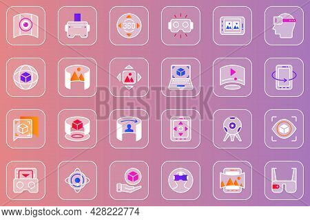 Virtual Reality Web Glassmorphic Icons Set. Pack Outline Pictograms Of 3d Virtual Simulation Headset