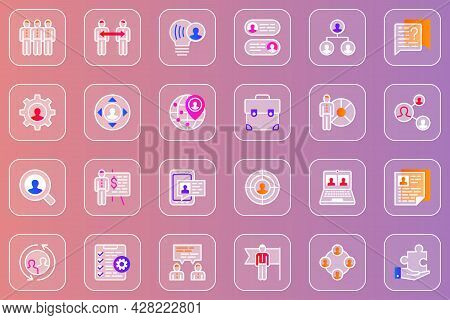 Teamwork Web Glassmorphic Icons Set. Pack Outline Pictograms Of Success Business, Team Cooperation,