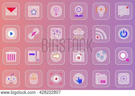 Website Ui Web Glassmorphic Icons Set. Pack Outline Pictograms Of Email, Question Mark, Location, Vi
