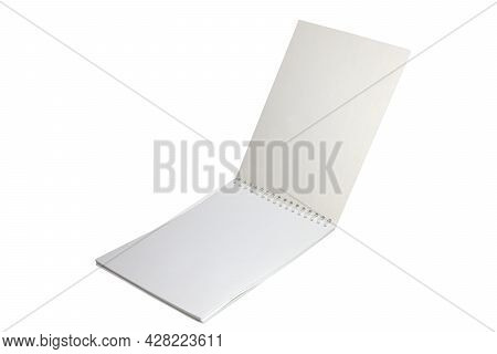 Clean Flip Notebook With Unlined Pages On A Binding Spring. Isolated On White Background
